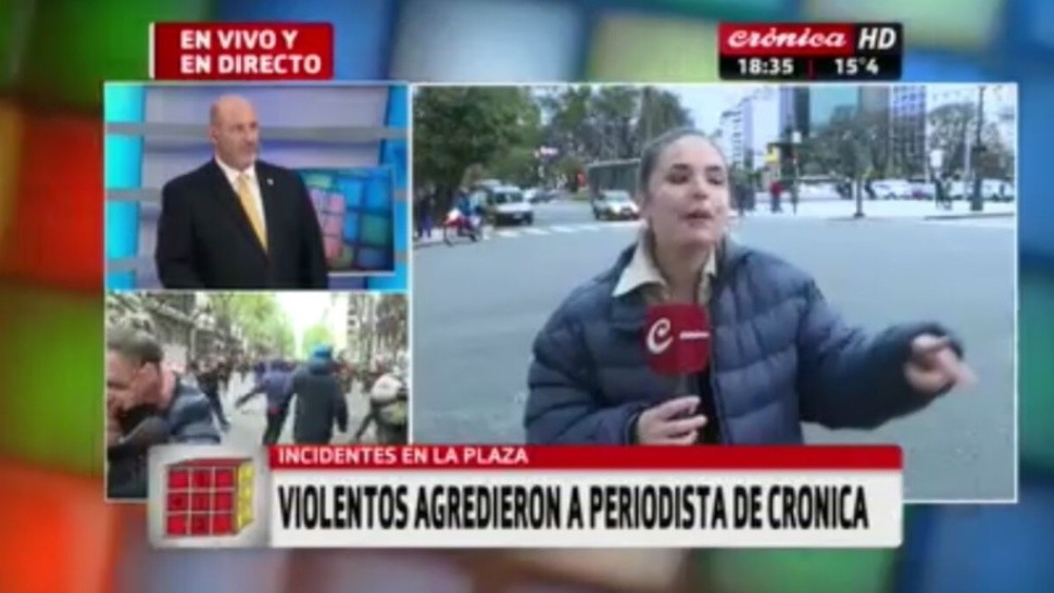 Agredieron a periodista de Crónica TV (Captura)