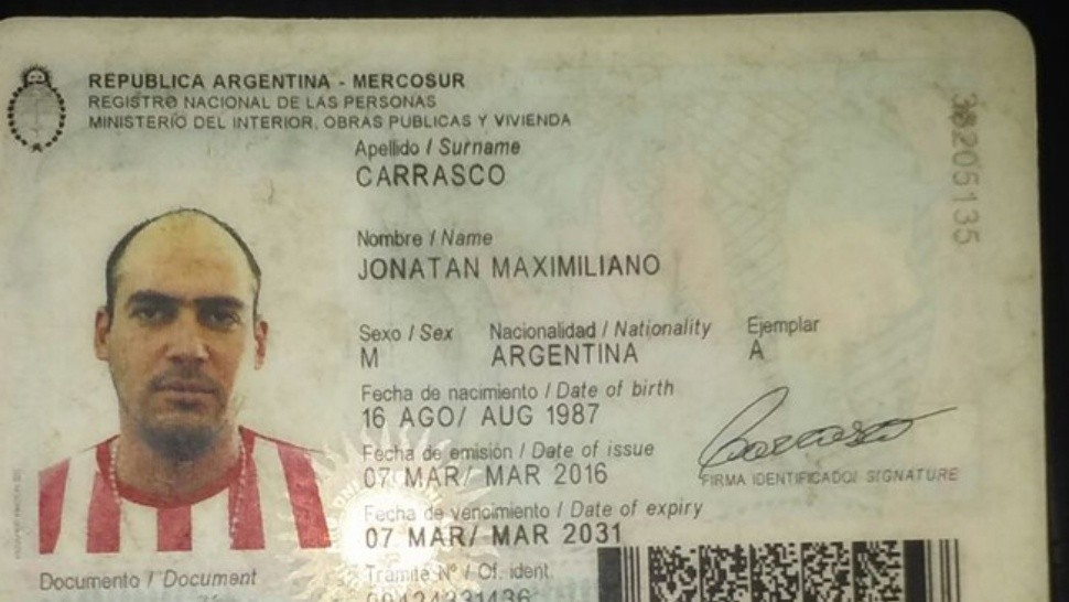El documento de la víctima, Jonathan Carrasco (Cortesía Diario Norte).