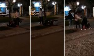 Secuencia de la brutal pelea en la plaza. (Captura de video).