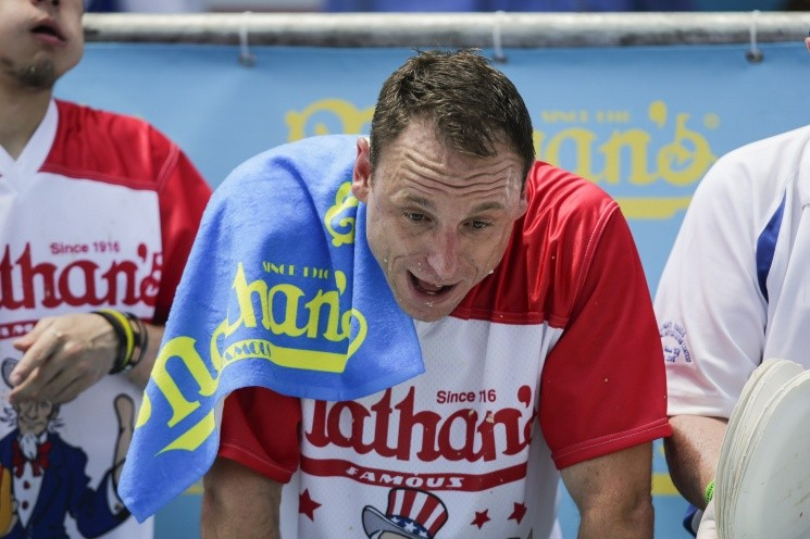 Competitive Eaters Gorge At Annual Nathan's Hot Dog Eating Contest - == FOR NEWSPAPERS, INTERNET, TELCOS & TELEVISION USE  data-cke-saved-ONLY == ONLY ==
